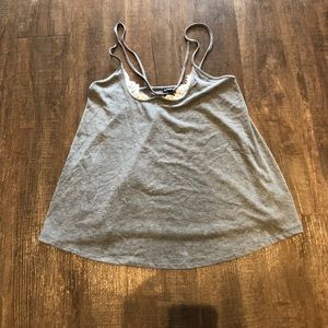 Grey lace inset tank